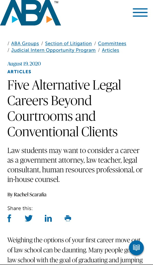 ABA Five Alternative Legal Career Beyond Courtrooms and Conventional Clients