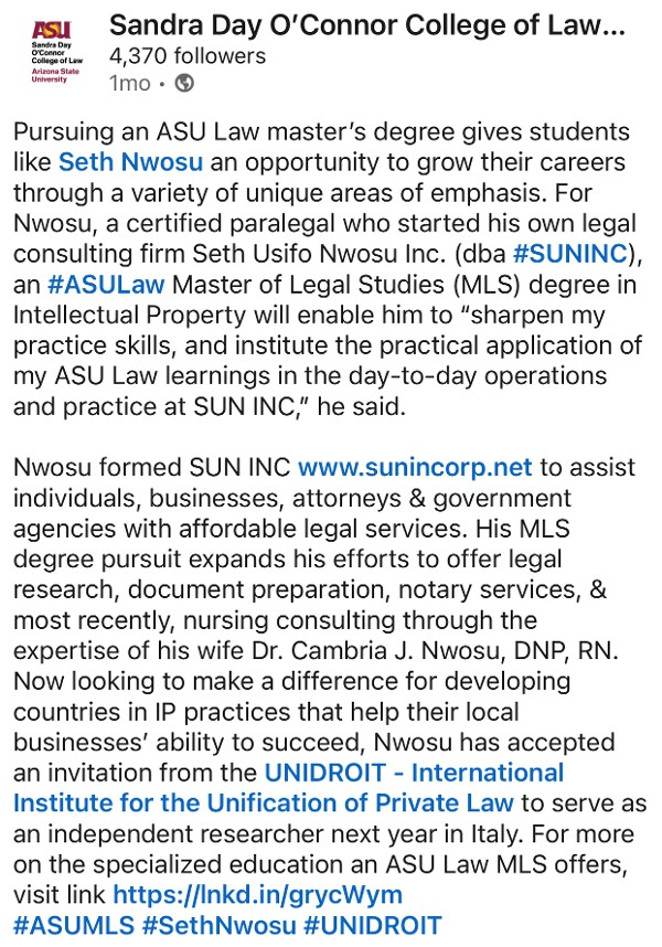 SUN, INC. Featured in ABA JIOP Article As seen with the ABA Section of Litigation on Twitter
