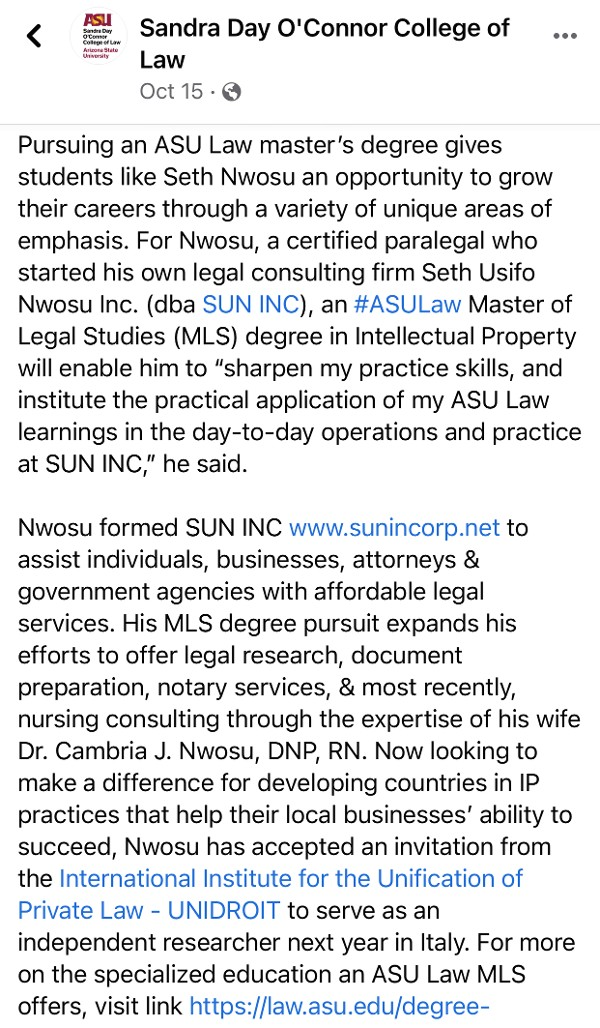 SUN, INC. Featured in ASU Sandra Day O'Conner College of Law Article Featuring Intellectual Property Law Master of Legal Study Candidate As Seen On Facebook